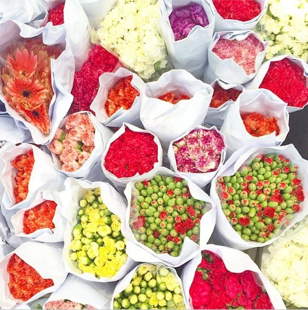 Fresh blooms at the flower market, Hong Kong