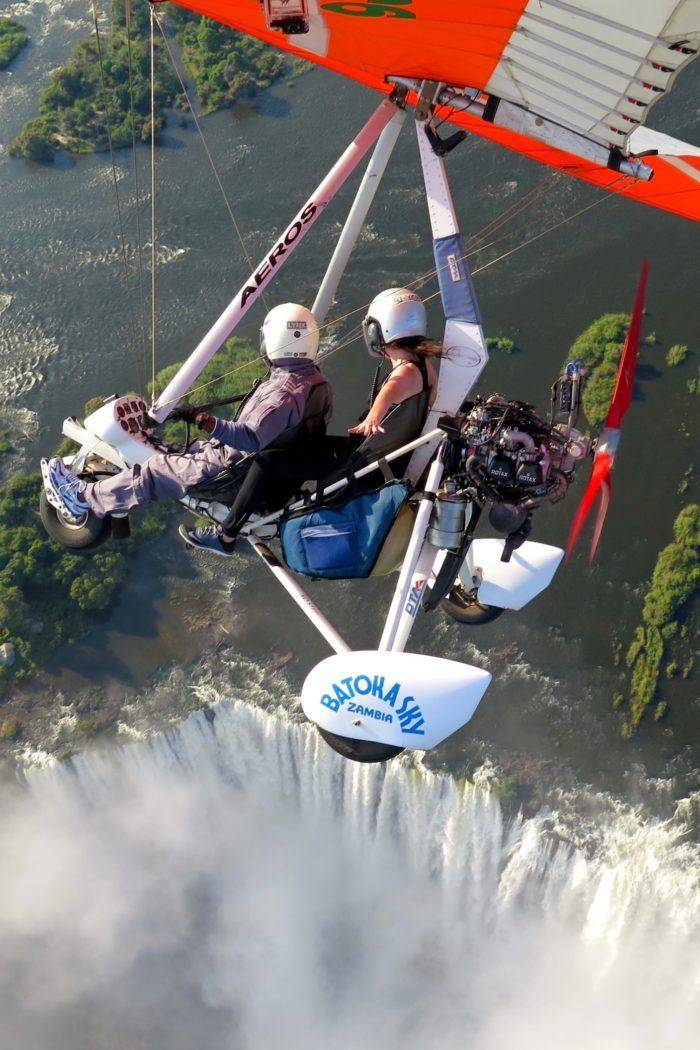 Flying over Victoria Falls in a Microlight