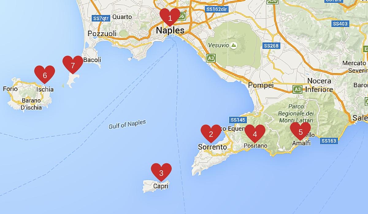 Amalfi Coast Map World Of Wanderlust